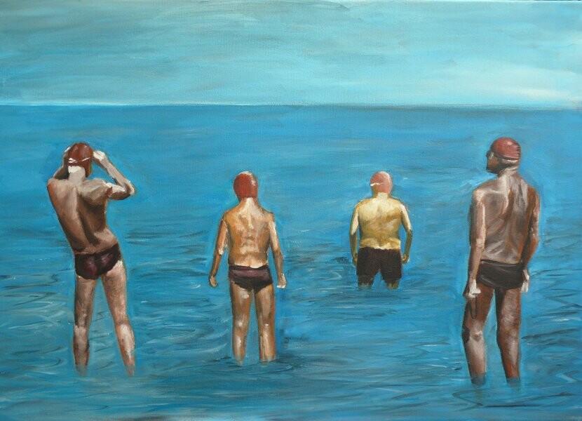Vier Herren am Meer